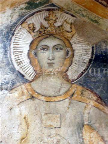 SAINTE LUCIE La photo ci-contre a été prise dans une église de la citadelle de Rhodes. Elle représente Sainte Lucie (14ème siècle, école toscane)