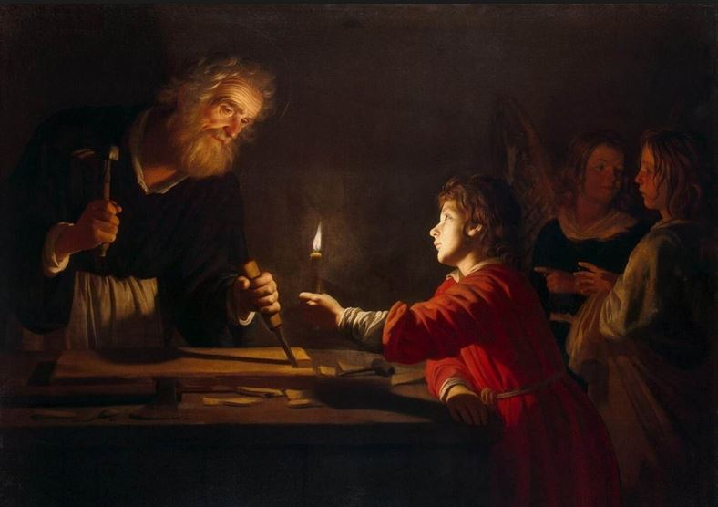 Gerrit van Honthorst 'Childhood of Christ', c. 1620. Detail. Found in the collection of The Hermitage, St Petersburg